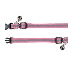 Obroża dla kota z odblaskowym paskiem, różowa, 15 - 20 cm