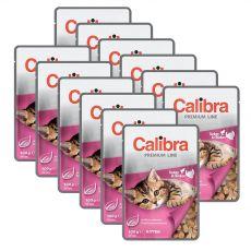 CALIBRA Cat Kitten kawałki kurczaka i indyka w sosie 12 x 100 g