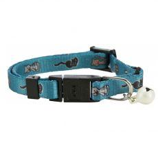 Obroża dla kota ze wzorkiem, jasnoniebieska - 15 - 20 cm