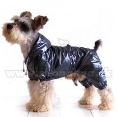 Płaszcz przeciwdeszczowy dla psa, dwuwarstwowy – szaro-czarny XS