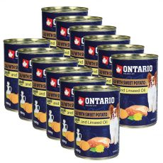 Konserwa ONTARIO z cielęciną, słodkimi ziemniakami i olejem lnianym – 12 x 400g