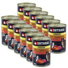 Konserwa ONTARIO dla psów, dziczyzna, żurawina i olej - 12 x 400g