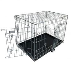 Double door dog cage in silver zinc coating, with plastic tray 109L×71W×79H CM