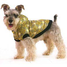 Kurtka w kratę dla psa- żółta, L