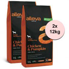 Alleva NATURAL dog chicken & pumpkin puppy medium 2 x 12 kg
