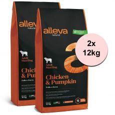 Alleva NATURAL dog chicken & pumpkin adult maxi 2 x 12 kg