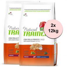Trainer Natural Adult Medium, kurczak i ryż 2 x 12kg
