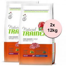 Trainer Natural Adult Medium, wołowina i ryż 2 x 12kg