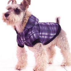 Kurtka dla psa - w kratę, fioletowa, XL