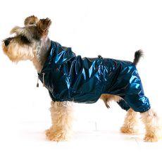Płaszcz przeciwdeszczowy dla psa, dwuwarstwowy – niebiesko-czarny, S