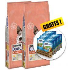 PURINA DOG CHOW Active 2 x 14 kg + PREZENT