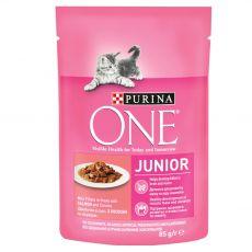 PURINA ONE JUNIOR mini filety z łososiem i marchewką w sosie 85 g