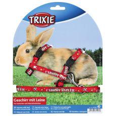 Szelki ze smyczą dla królików - w kolorze czerwonym