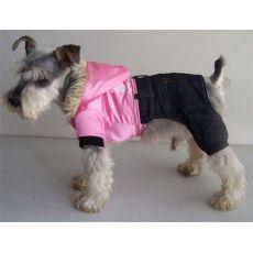 Kombinezon dla psa - błyszczący róż z dżinsami, XL