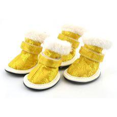 Buty dla psów w złotym kolorze, haftowane, rozmiar nr. 3