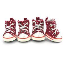 Sportowe buty dla psów - bordowe, w kropki w rozmiarze nr. 4