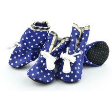 Niebieskie buty dla psów - w kropki, rozmiar nr. 4