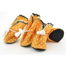 Pomarańczowe buty dla psów - w kropki, rozmiar nr. 4
