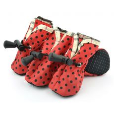 Czerwone buty dla psów – w czarne kropki, rozmiar nr. 2