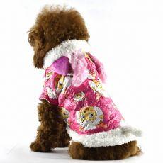 Futerko dla psa - różowe, z motywem baranów z kreskówki, L