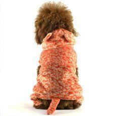 Kombinezon dla psa - pomarańczowy, lampart z ogonem, L