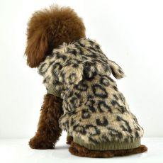 Kożuch dla psa - lampart z kapturem, XL