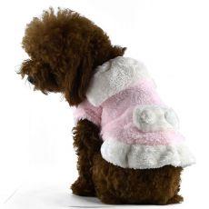 Futerko dla psów - różowo-białe z kołnierzem, XXL