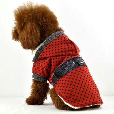 Płaszcz dla psa - czerwony w kropki, z futerkiem, XL