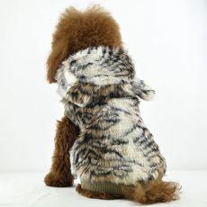 Kożuch dla psa - tygrys z kapturem, XL