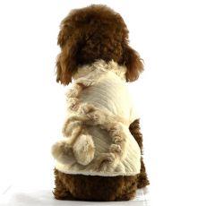Płaszczyk dla psów - beżowy z futerkiem, XL