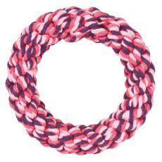 Pierścień ze sznurka, różowy- 14 cm