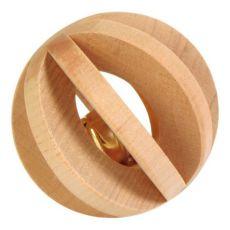 Zabawka dla królików - drewniana kula z dzwoneczkiem, 6 cm