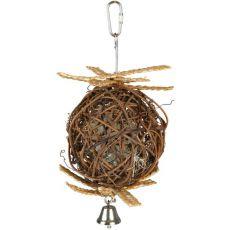 Piłka z dzwoneczkiem dla ptaków - pleciona, 10 cm