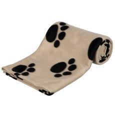 Koc dla psów i kotów - beżowy, z motywem łapek, 150 x 100 cm