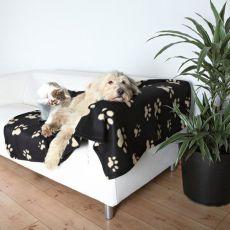 Koc dla psów i kotów - w beżowe łapki, 150 x 100 cm