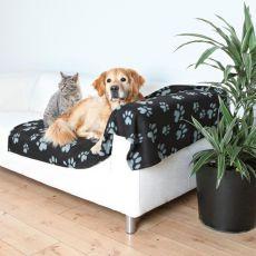 Koc dla psów i kotów - popielate łapki, 150 x 100 cm