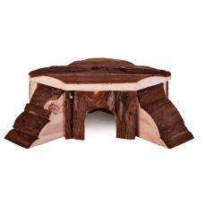 Domek dla gryzoni z drewna - narożnik, 21 x 7 x 19 cm