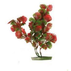 Plastikowa roślina do akwarium - czerwono-zielone liście, 17 cm