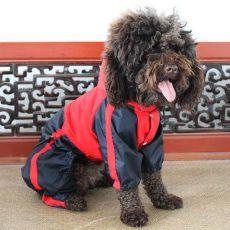 Kombinezon dla psa - przeciwdeszczowy, czerwono-czarny, XS
