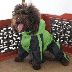 Kombinezon dla psa - przeciwdeszczowy, zielono-czarny, S