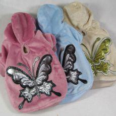 Bluza dla psa z motylem - pluszowa, w różowym kolorze, L