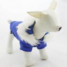 Wiatrówka dla psa z kapuzą – niebieska, S