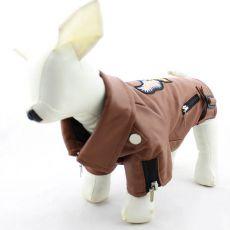 Skórzana kurtka dla psa - brązowa z orłem, M