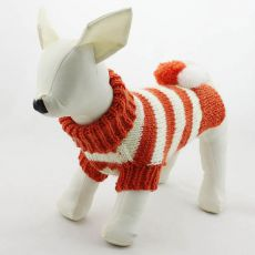 Sweter dla psa - z dzianiny, pomarańczowo-biały, L