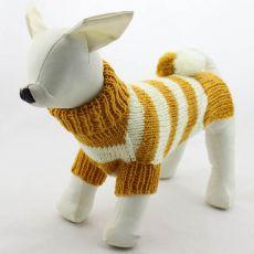 Sweter dla psa - z dzianiny, żółto-biały, L