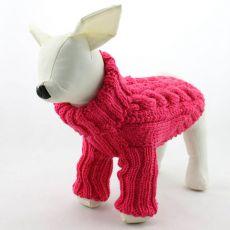 Sweterek dla psa - pleciony, ciemnoróżowy, L