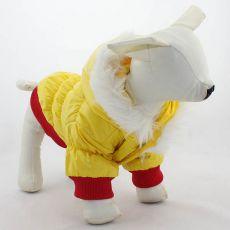 Kurtka wiatrówka dla psa - czerwono-żółta z kapturem,S