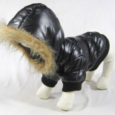 Kurtka wiatrówka dla psa - czarna z kapturem, XS