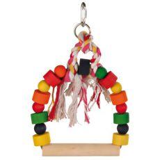 Zabawka dla ptaków - kolorowa huśtawka ze sznurkiem, 20x29 cm