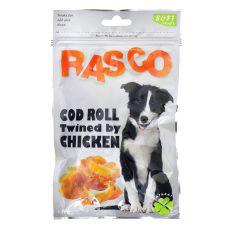 Przysmak RASCO - rolada z dorsza z pokryciem z mięsa z kurczaka, 80 g
